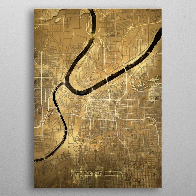 kansas city map gold by Bekim Art | metal posters - Displate on road map of kansas, antique map of kansas, large map of kansas, physical map of kansas, radon map of kansas, blank map of kansas,