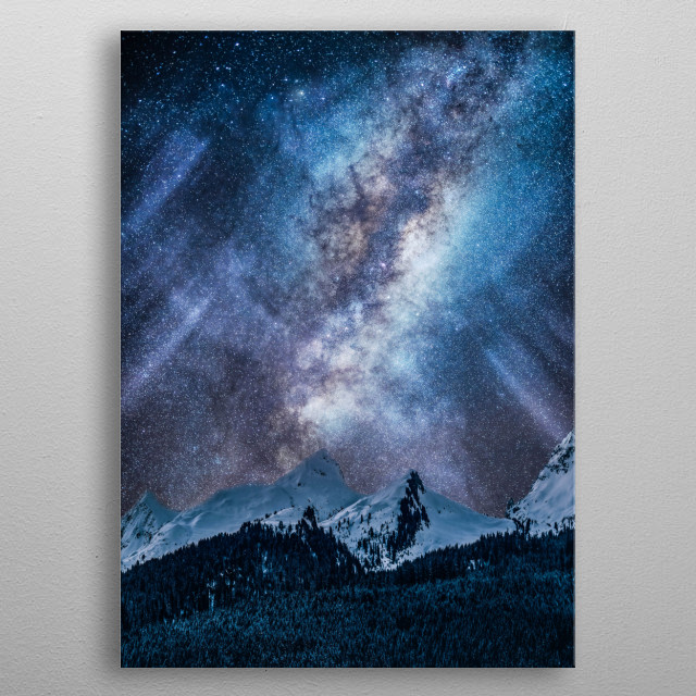 A blue milky way at night  metal poster