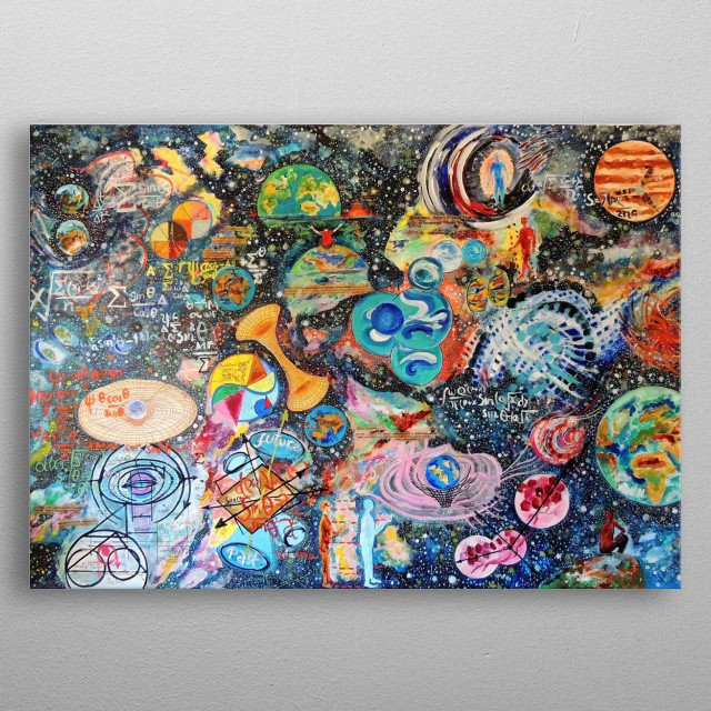 The concept of Parallel Universe is explored in this bold and exciting painting , acrylic on canvas. metal poster