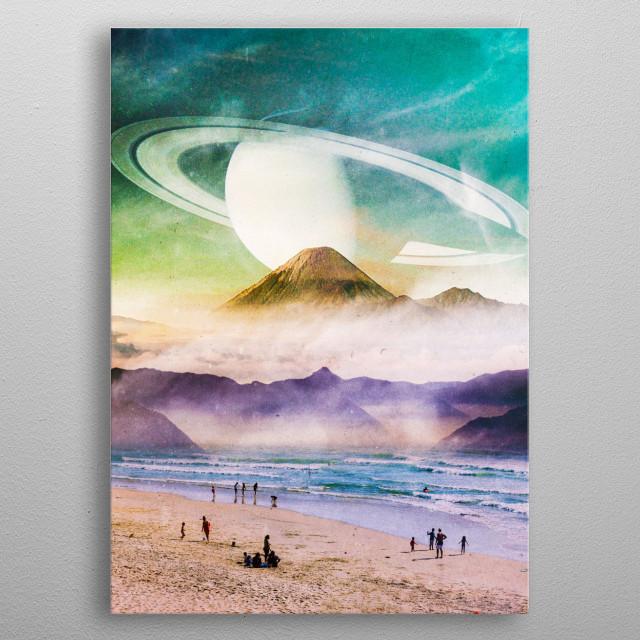 surreal scifi digital landscape collage  metal poster