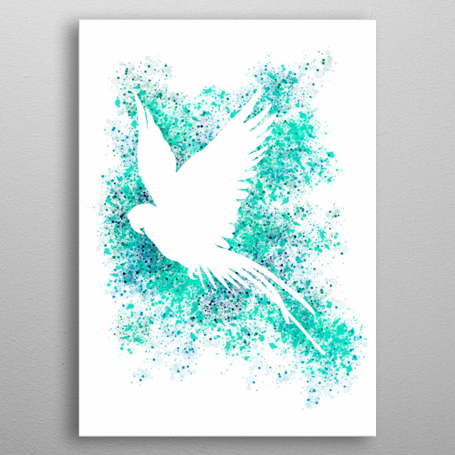Silhouette of a parrot with turquoise pattern. metal poster