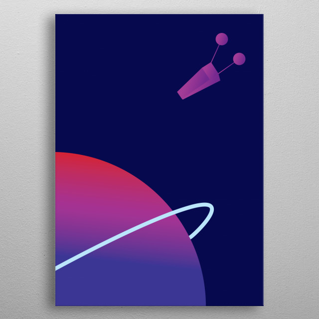 Planet approached by a shuttle inspired by old Dan Dare illustrations metal poster