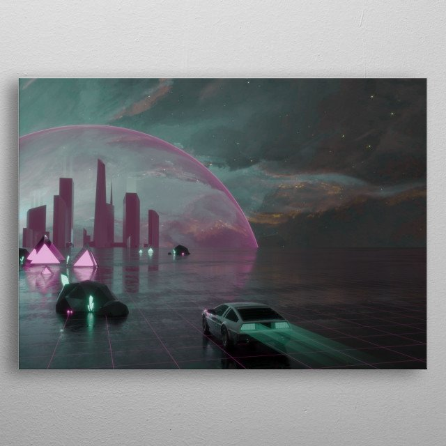 Synthwave DeLorean and Cybercity combined in one image. Synthwave vibes all over the place. Car arriving at misterious city and night. metal poster