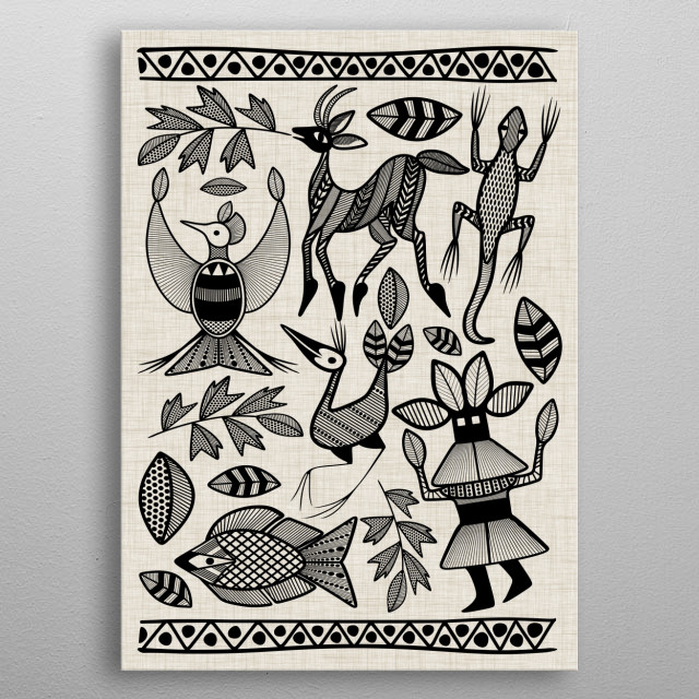 Korhogo is an African Tribal Ethnic Symbolic Art, originally painted with vegetal pigments on Cotton  by Senufo People from Ivory Coast.  metal poster