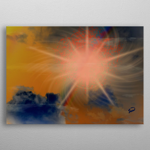 A digital illustration depicting an imaginary nebula in outer space. metal poster
