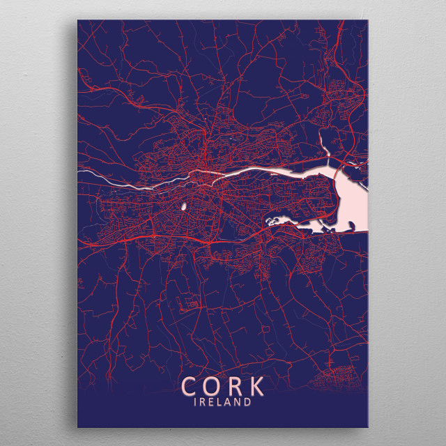 Cork, Ireland, Blue City Map metal poster