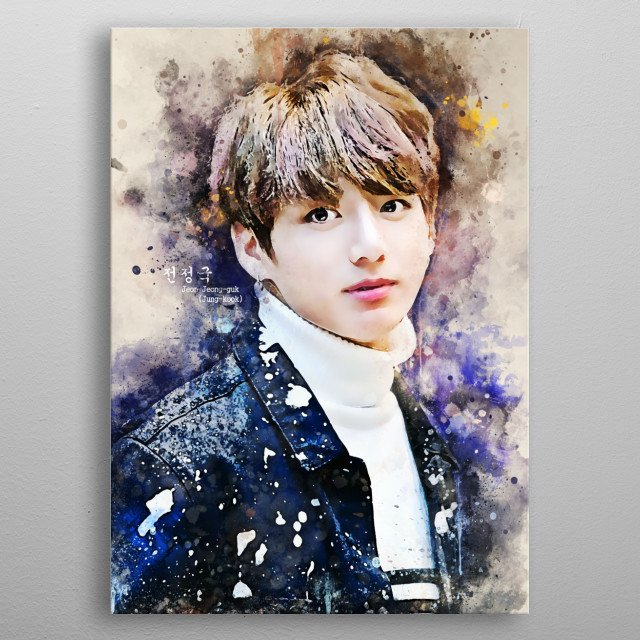 Jeon Jung-kook, better known mononymously as Jungkook is a South Korean singer and songwriter. He is the main vocalist of BTS. metal poster