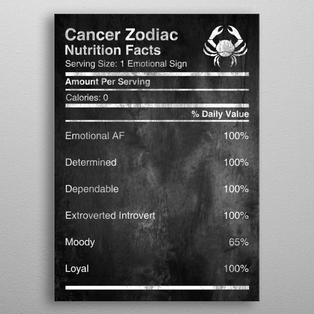 Are you Cancer?   Cancer Zodiac Nutrition Facts, Check more in the collection of Zodiac Nutrition available for All Zodiac Signs  metal poster