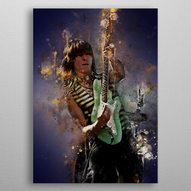 Jeff Beck is an English rock guitarist. He is one of three famous guitarists who played in the band The Yardbirds metal poster