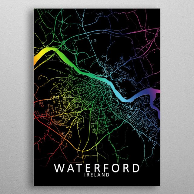Waterford, Ireland, Rainbow City Map metal poster