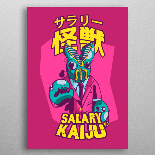 The city its under attack! Giants salary men wants to take everything! metal poster