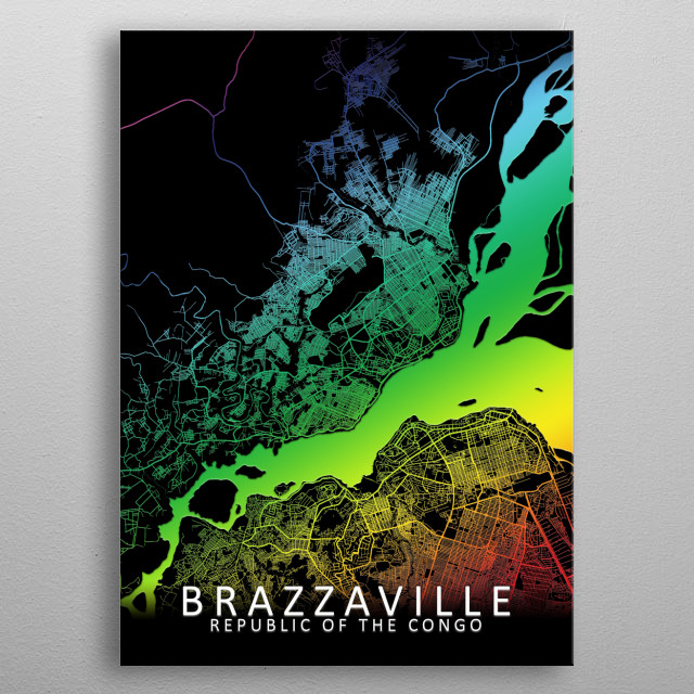 Brazzaville Republic of the Congo Rainbow City Map metal poster