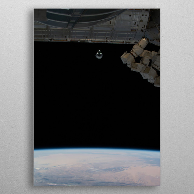 SpaceX Dragon V2 Approaching the International Space Station.  metal poster