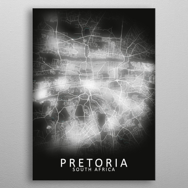 Pretoria, South Africa, LED Glow City Map metal poster