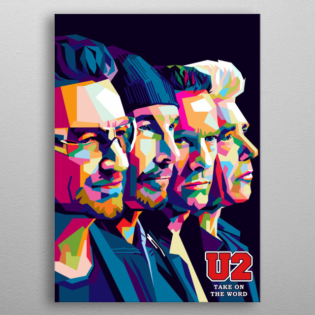 Colorful Pop Art Group Band U2 illustrations. metal poster