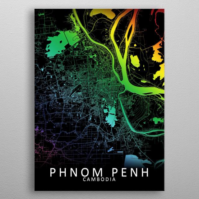 Phnom Penh, Cambodia Rainbow City Map metal poster