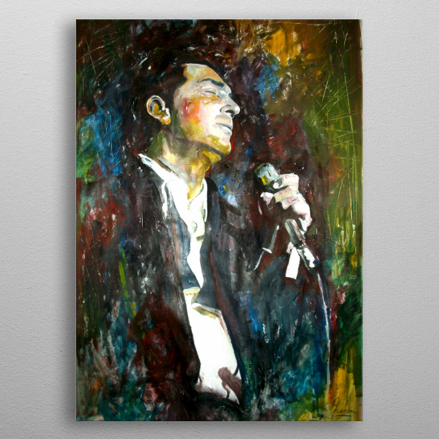 Painting of Dean Martin in the Sands in the 60's  metal poster
