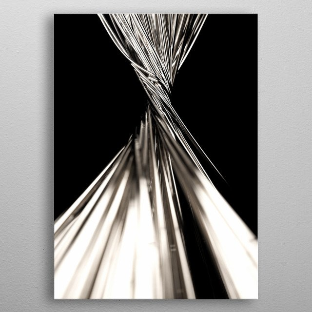 Twisted metal wires in minimalistic black background and studio light metal poster