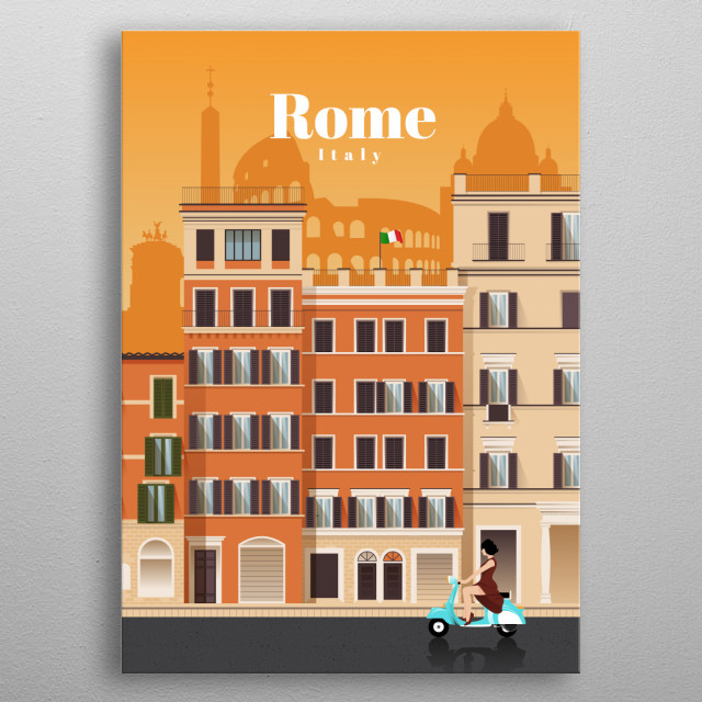 Digital illustration of Rome's city skyline and architecture of its neighbourhoods, and their favourite mode of transit - the vespa. metal poster