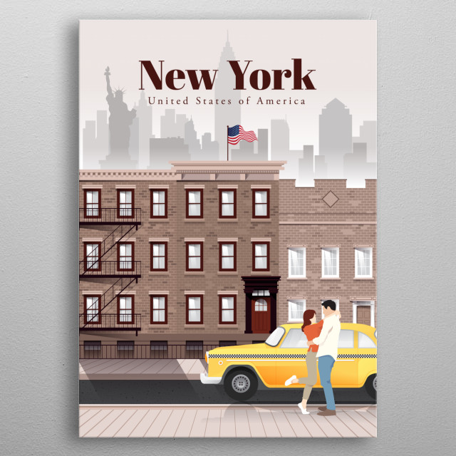Digital illustration of New York City's skyline and architecture of its neighbourhoods, and their favourite mode of transit - the cab. metal poster