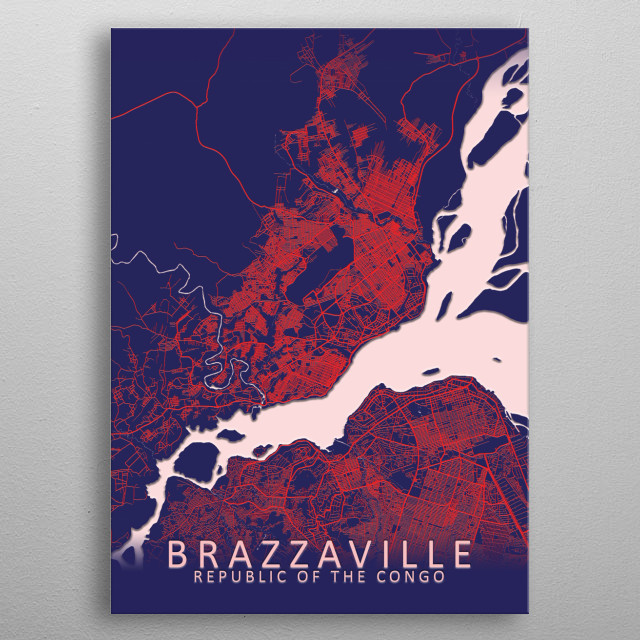 Brazzaville Republic of the Congo Blue City Map metal poster