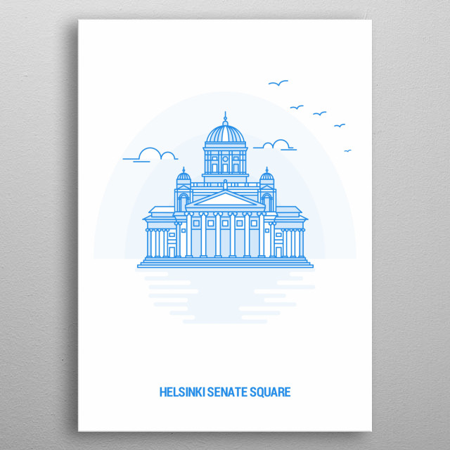 Creative Blue Tone Line Art of Senate Square Helsinki Finland Monument Landmark. metal poster