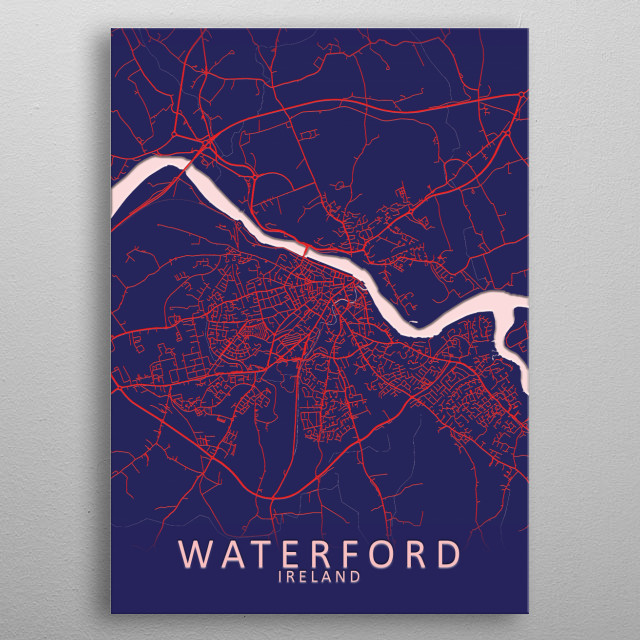 Waterford, Ireland, Blue City Map metal poster