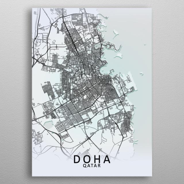 Doha Qatar City Map metal poster