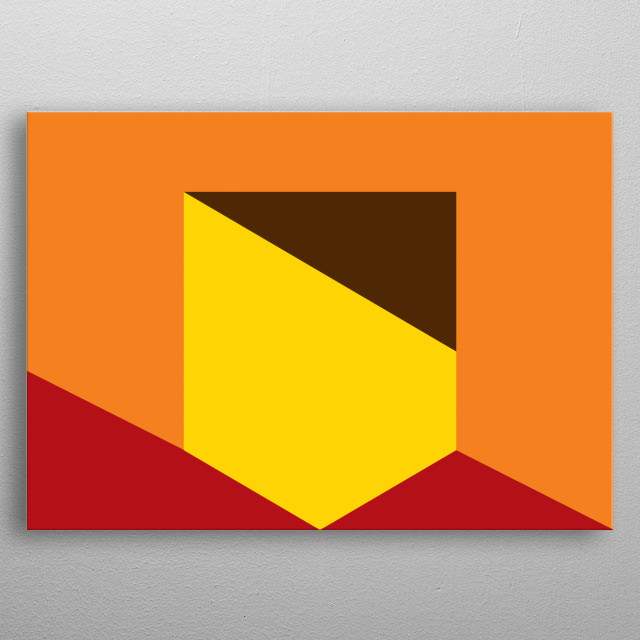 Geometric composition of shapes in yellow, red, orange and black metal poster