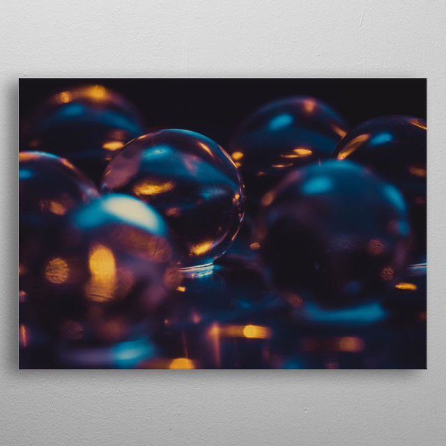 Creative water balls macro photography. metal poster