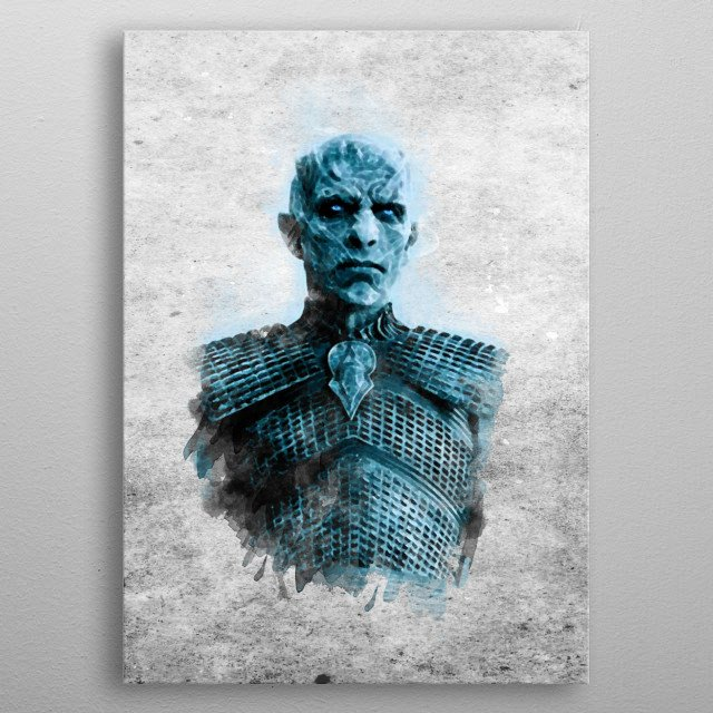 Watercolor painting depicting the evil king of the night, main villain of the tv show Game of Thrones metal poster