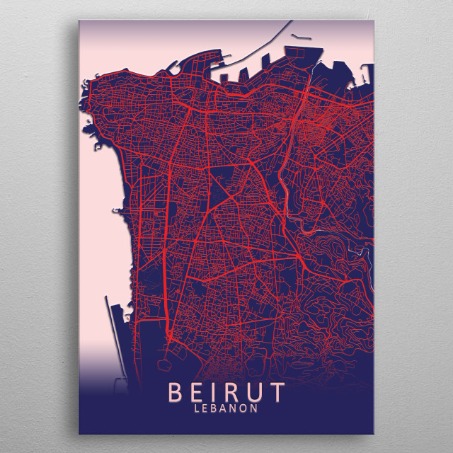 Beirut Lebanon Blue City Map metal poster