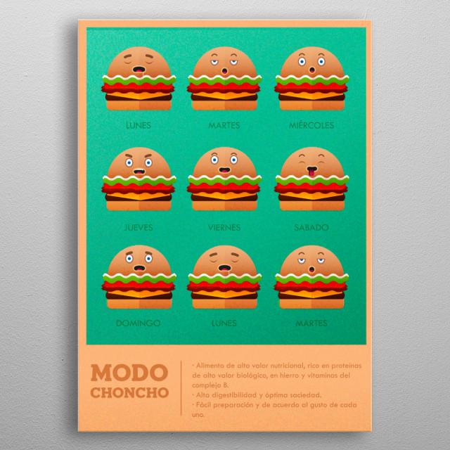 Geometric and organic illustration, vintage food metal poster