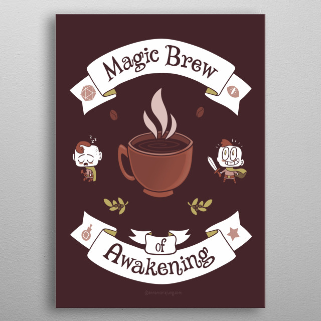 Every gamer knows, this is the best potion for rolling the dice until past midnight! metal poster