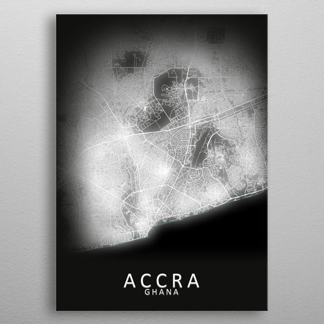 Accra Ghana LED Glow City Map metal poster