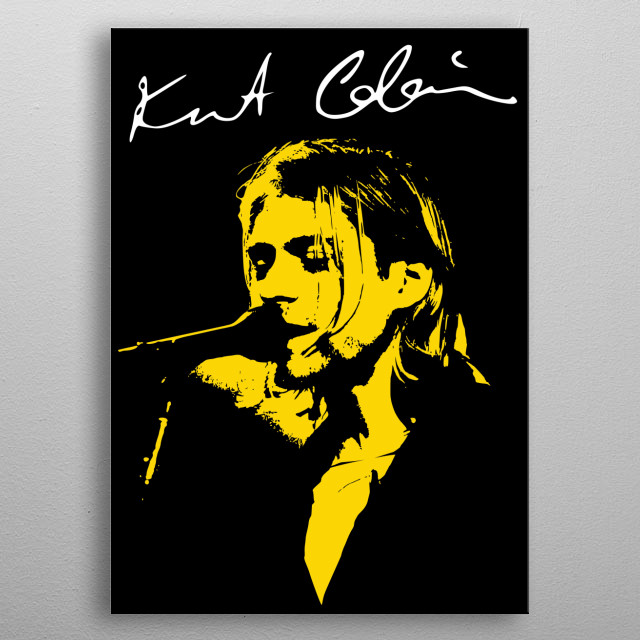 Kurt Cobain vector art, in yellow. metal poster
