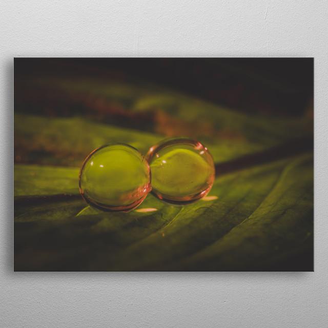 Creative water balls macro photography. metal poster