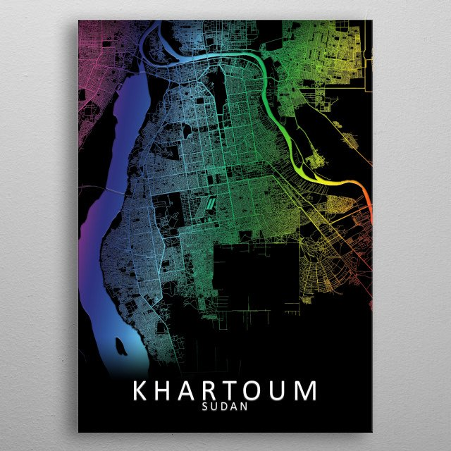 Khartoum, Sudan Rainbow City Map metal poster