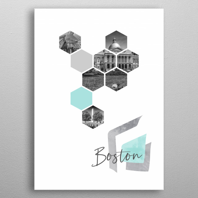 Cityscapes from Boston in geometric shapes showcase perfectly each single moment. Discover Old and New State House, Bunker Hill Monument. metal poster