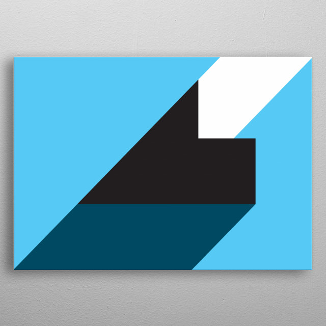 Geometric composition of shapes in blue, white and black  metal poster