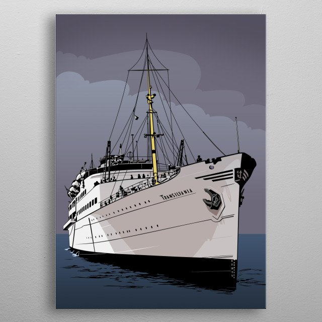 Illustration of the cruise ship Transilvania. metal poster