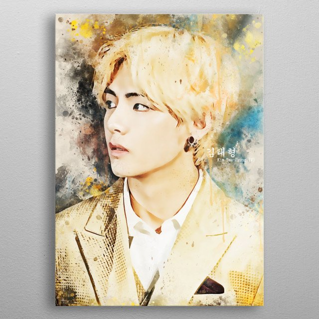 Kim Tae-hyung better known by his stage name V, is a South Korean singer, songwriter, actor, and member of the South Korean boy group BTS. metal poster