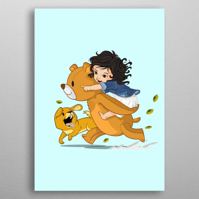 Illustration of a big bear who carrying a little girl and running with puppy metal poster