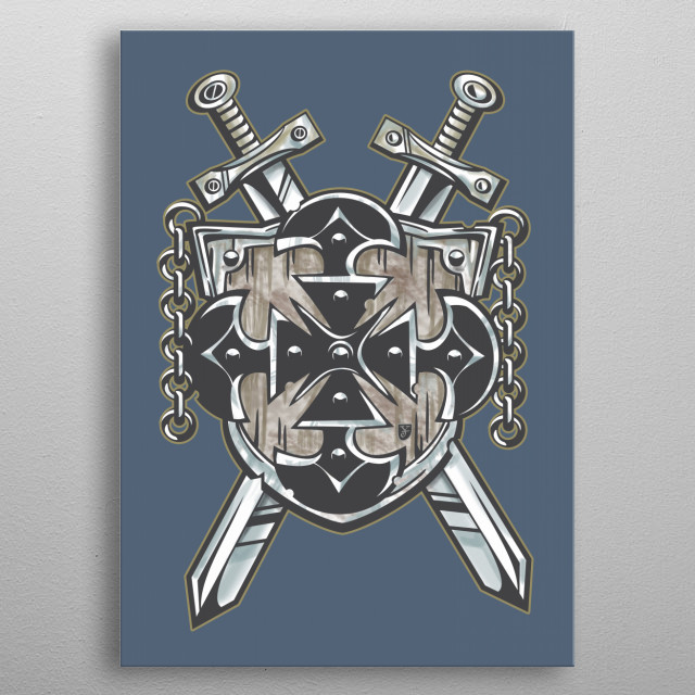 Ancient medieval crest in modern templar style. metal poster