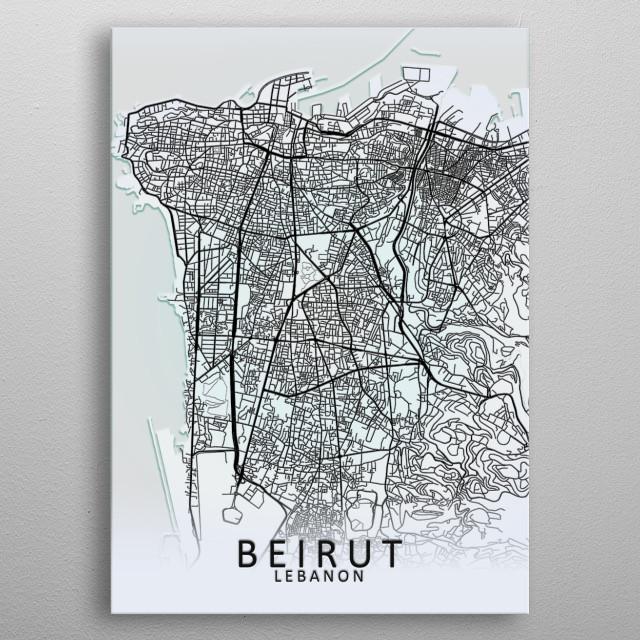 Beirut Lebanon White City Map metal poster