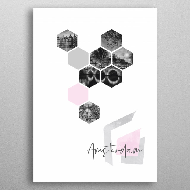 Cityscapes from Amsterdam in geometric shapes showcase perfectly each single moment. Discover Damrak, Keizersgracht and Prinsengracht. metal poster
