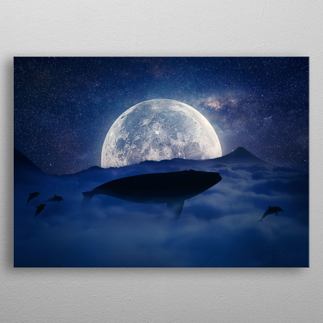 Silhouette of a whale flying above the clouds into the full moon night. Starry sky over the clouds in the mountains. Fantasy, surreal landsc metal poster