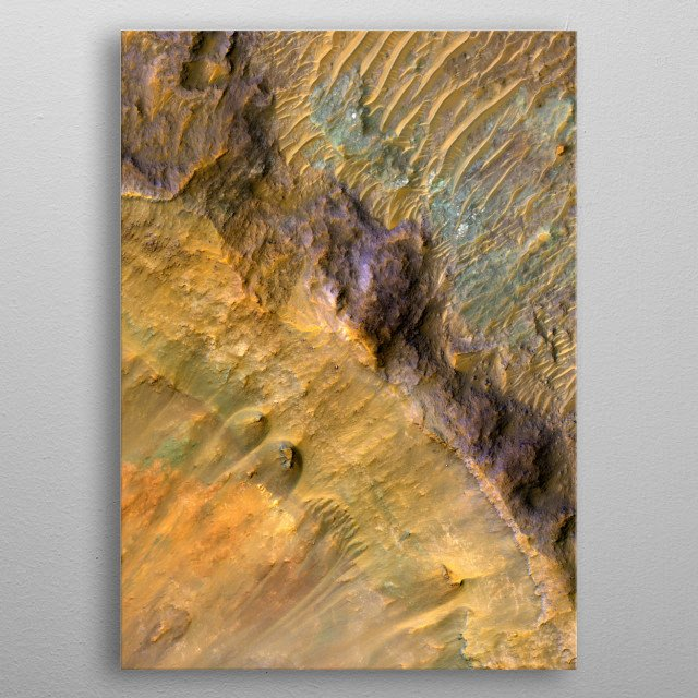 Mars:  Stratigraphy Exposed by an Impact Crater.  False color image of the surface of Mars, captured by high resolution satellite. metal poster