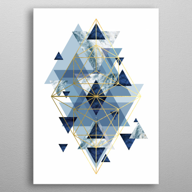 A stunning geometric design in tones of blue with gold accents  metal poster