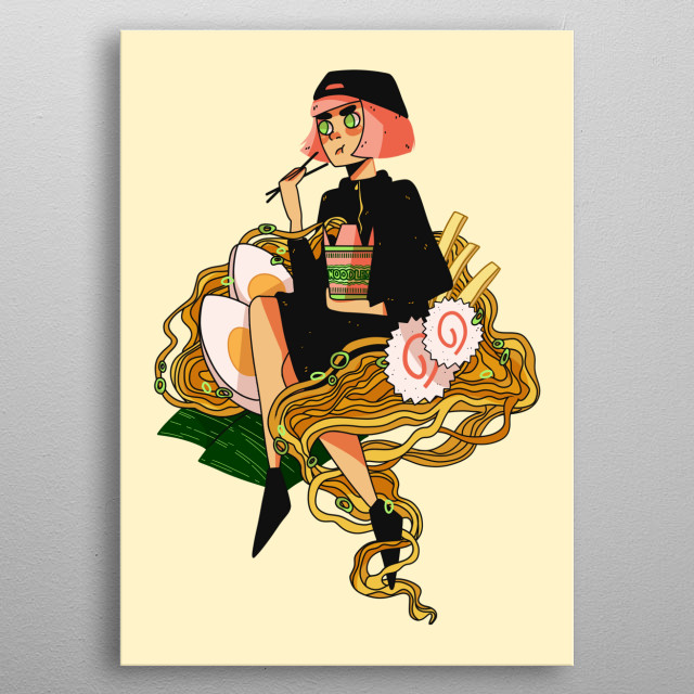 Illustration of girl who just really loves ramen. metal poster